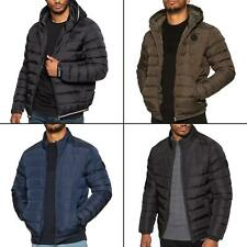 Mens Jackets Zip Up Quilted Bubble Coat Plain Padded Puffer Winter Warm Coats