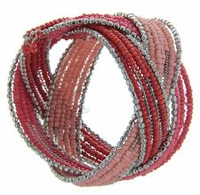 Sonoma Red, Pink And Silver Beaded Cuff Bracelet