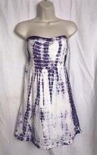 Saks Fifth Avenue Tie Dye Strapless Crochet Trim Dress Women's Size Small