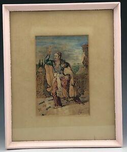 Mystery Artist Italian Style Handpainted Figure Original Watercolor Painting SMS