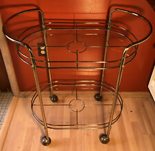 Vintage MCM Brass and Glass Bar Tea Cart Trolley Hollywood Regency 2 Tier Oval
