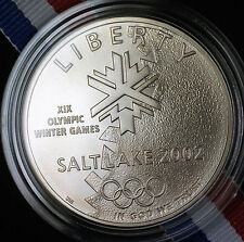 2002 USA Salt Lake City Uncirculated $1 Silver Dollar Coin Winter Olympic Games
