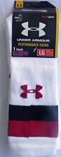 Under Armour Performance Crew Socks LG Fits Shoe Size 9-12.5 White HEAT GEAR