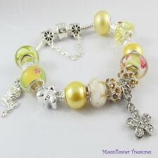 Gold European Bead & Charm Starter Charm Bracelet with Safety Chain 20cm
