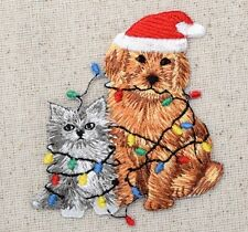 Iron On Embroidered Applique Patch Christmas Puppy Dog Kitten Cat Tangled Lights
