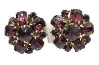 Vintage Earrings Amethyst Purple Rhinestone Emerald Cut Prong Set Gold T Clip A9
