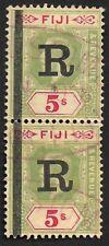 Fiji REVENUE KGV 1914 5sh pair wmk. Crown/CA overprinted R #30