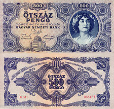 """HUNGARY 500 Pengo Banknote World Paper Money Grade """"XF"""" Currency Pick p117 1945"""