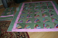 Wonderful Matching Pair of Twin Size FAN QUILTS-76x85""
