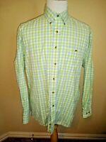 George Strait Mens Button Down Shirt XL Green Plaid Long Sleeve Western Cowboy