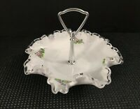 "Fenton Violets in the Snow Artist Signed 8"" Handled Bonbon Candy Dish #7498"