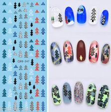 Christmas Nail Art Water Decals Transfers Rainbow Xmas Trees Gel Polish (247)