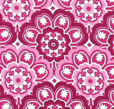 Michael Miller Retro Blossoming Flower Pink on White Cotton Fabric - FQ