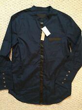 NWT Collection Thomas Mason® J.Crew leather-trim tunic navy Sz 2 A3055 $198