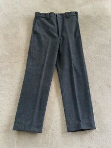 Men's WOOLRICH USA Gray Wool Red/Green Striped Pants Size 36 x 32