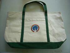 Leed's Canvas Zipper Top TOTE BAG Camp Comfort Green & Beige
