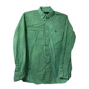 Mens Large Shirt Ralph Lauren Green Striped Long Sleeve Button Down Dress Shirt