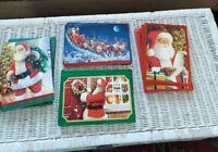 38 Vintage Hallmark Foil Xmas Cards w/ envelopes Santa embossed
