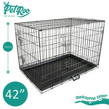 "42"" Dog Cat Pet Puppy Wire Cage Kennel Crate Collapsible 2 Doors Metal Tray"
