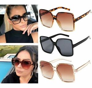 Ladies Oversized Square Sunglasses Women Double Colors Frame Gradient Shades