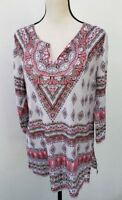 Tommy Bahama Womens Tunic Top Shirt Size Small Pink Floral 3/4 Sleeve NEW