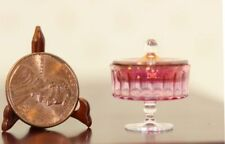 Dollhouse Miniature Artisan Glass Ribbed Cranberry Bowl by Philip Grenyer