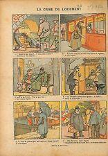 Caricature Crise du Logement Député Métro Banc Square de Paris 1920 ILLUSTRATION