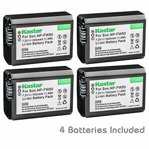 4x Kastar Battery for Sony NP-FW50 Alpha a6000 a6300 a6400 a6500 a6100 a7 a7 II
