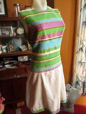 sz 8 True Vtg 70s ACRYLIC BURLAP SLEEVELESS GREEN/PURPLE STRIPE SUMMER Dress