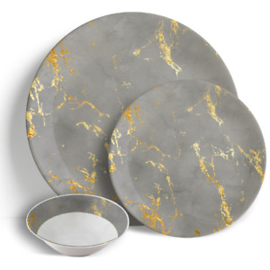 """Grey & Gold Marble - 18 Piece Dinner Set 10.5"""" Plates 7.5"""" Side Plates 7"""" Bowls"""