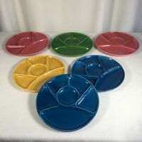 "Sectioned Ceramic Plates Hors D'oeuvres Party Plate Vintage 60s 9"" Set Of 6"