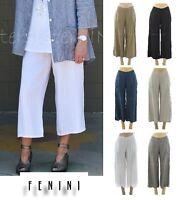 FENINI USA Linen Flat Front WIDE LEG CROP PANT Pocket Pants XS - XXL 2017 COLORS