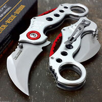 TAC FORCE Spring Assisted Pocket Knives KARAMBIT CLAW Silver Red Tactical Knife