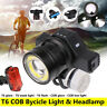Bike Bicycle Cycling T6 COB LED Head Front Light USB Rechargeable Rear Tail Lamp