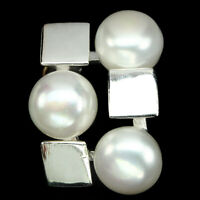 White Pearl Round Button10mm 14k White Gold Plate 925 Sterling Silver Pendant