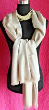 Calvin Klein Dove Beige w/ Sparkle Logo Print Wrap Fringe Scarf Elegant Rayon