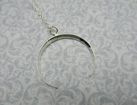 Ridged Crescent Moon Necklace - Large Celestial Pendant - 925 Sterling Silver