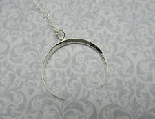 Crescent Moon Necklace - Ridged - Sterling Silver - Large Celestial Pendant