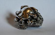 Enorme Solido Argento Finissimo 925 Skull Ring con gli Artigli Taglia U (US 10) 30 G 1.05 OZ (ca. 29.77 g)