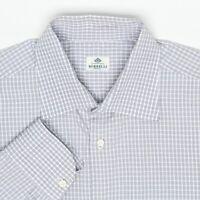 Borrelli Mens Dress Shirt 16.5/36 Gray White Check Plaid Cotton MOP Button Front