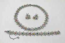 Vintage Art Nouveau Czech Rhinestone Necklace, Bracelet & Earrings Parure Set