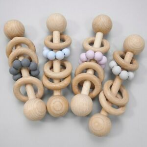 Pram Organic Beech Wooden Ring Silicone Beads Baby Teething Toys Stroller Rattle