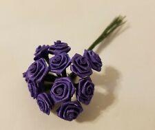 "Lot 144 pcs Purple Satin Ribbon Roses Flowers 12mm 1/2"" 1/2 Inch on Wire Stem"