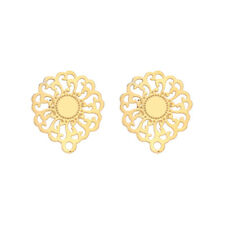 Gold Tone Stainless Steel Hollow Sunflower Earring Posts for DIY Jewelry Making