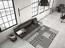 Teppich Flachflor modern mit 3D-Effekt und Patchwork-Muster in Multi/Schwarz