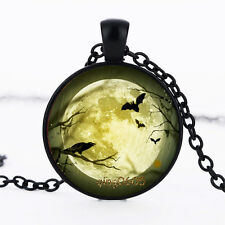 Bats and Crow Full Moon Photo Glass Dome necklace black Chain Pendant Necklace
