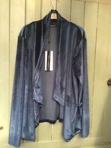 jacket / cardigan sz L dark blue velour could be worn casual or formal brand new