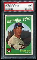 1959 Topps Baseball #214 MARCELINO SOLIS Chicago Cubs RC ROOKIE PSA 7 NM
