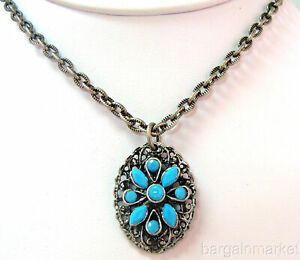 Western Style Chain Necklace Turquoise Pendant