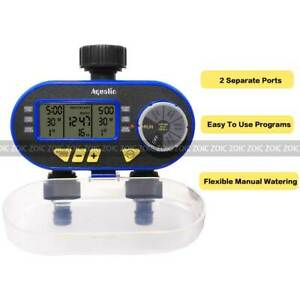 2 Outlet Water Tap Automatic Timer Digital LCD Screen Lawn Irrigation Controller